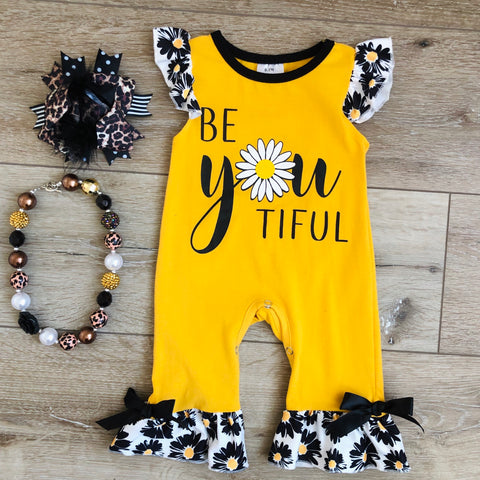 BE'YOU'TIFUL DAISY YELLOW ROMPER