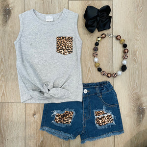 HEATHER GRAY LEOPARD TANK DENIM SET