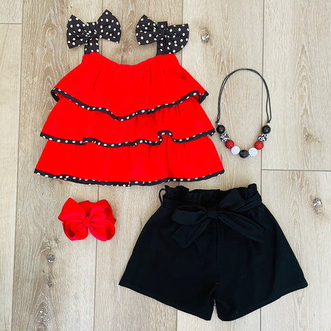 RED RUFFLE SUMMER TANK SET
