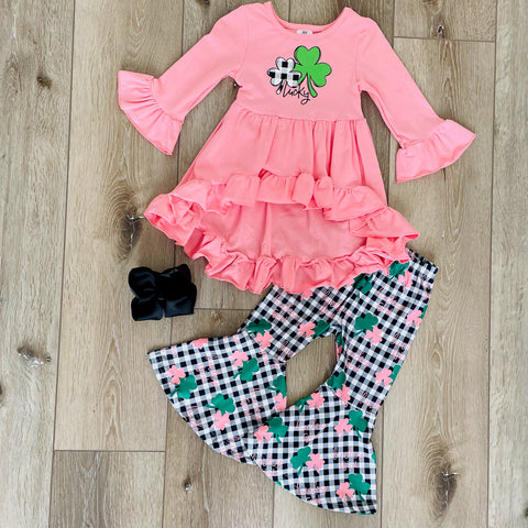 LUCKY CLOVER CORAL PLAID SET