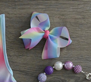 RAINBOW 4 INCH X 2 INCH BOUTIQUE BOW