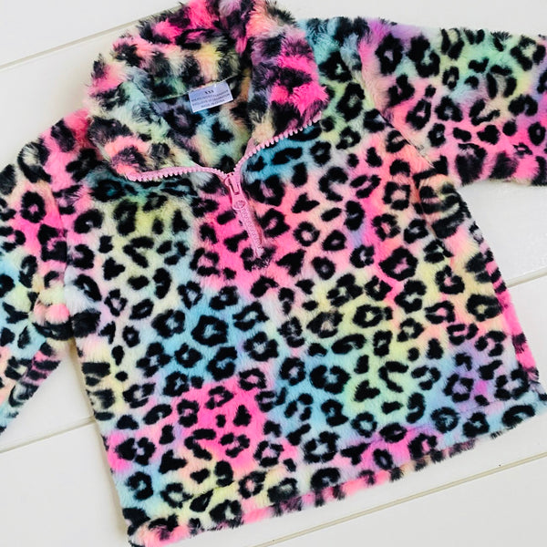 RAINBOW LEOPARD HOODED PULLOVER