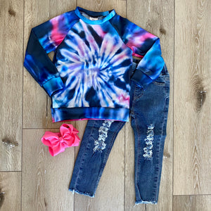 BLUE AND PINK SWIRL TIE DYE LONG SLEEVE TOP
