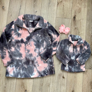 PINK AND GRAY TIE DYE FLEECE MOMMY AND ME PULLOVER