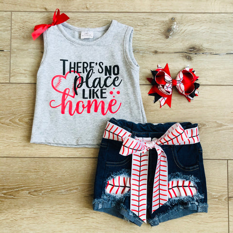THERE'S NO PLACE LIKE HOME BASEBALL DENIM SHORT SET
