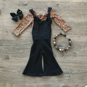 BLACK COTTON OVERALL ROMPER