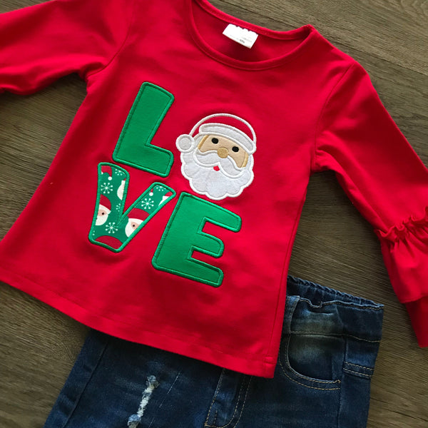 SANTA LOVE DISTRESSED DENIM CHRISTMAS SET