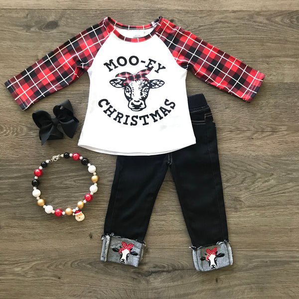 MOO-EY CHRISTMAS DENIM PANT SET