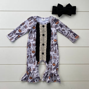 HALLOWEEN TRICK OR TREAT RUFFLE ROMPER