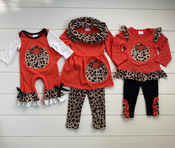 PUMPKIN LEOPARD RUFFLE BOUTIQUE SET