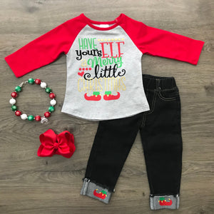 HAVE YOURS 'ELF' A MERRY LITTLE CHRISTMAS DENIM SET