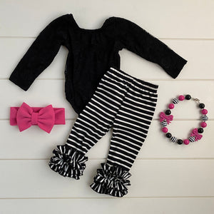 BLACK AND WHITE STRIPED RUFFLE PANTS