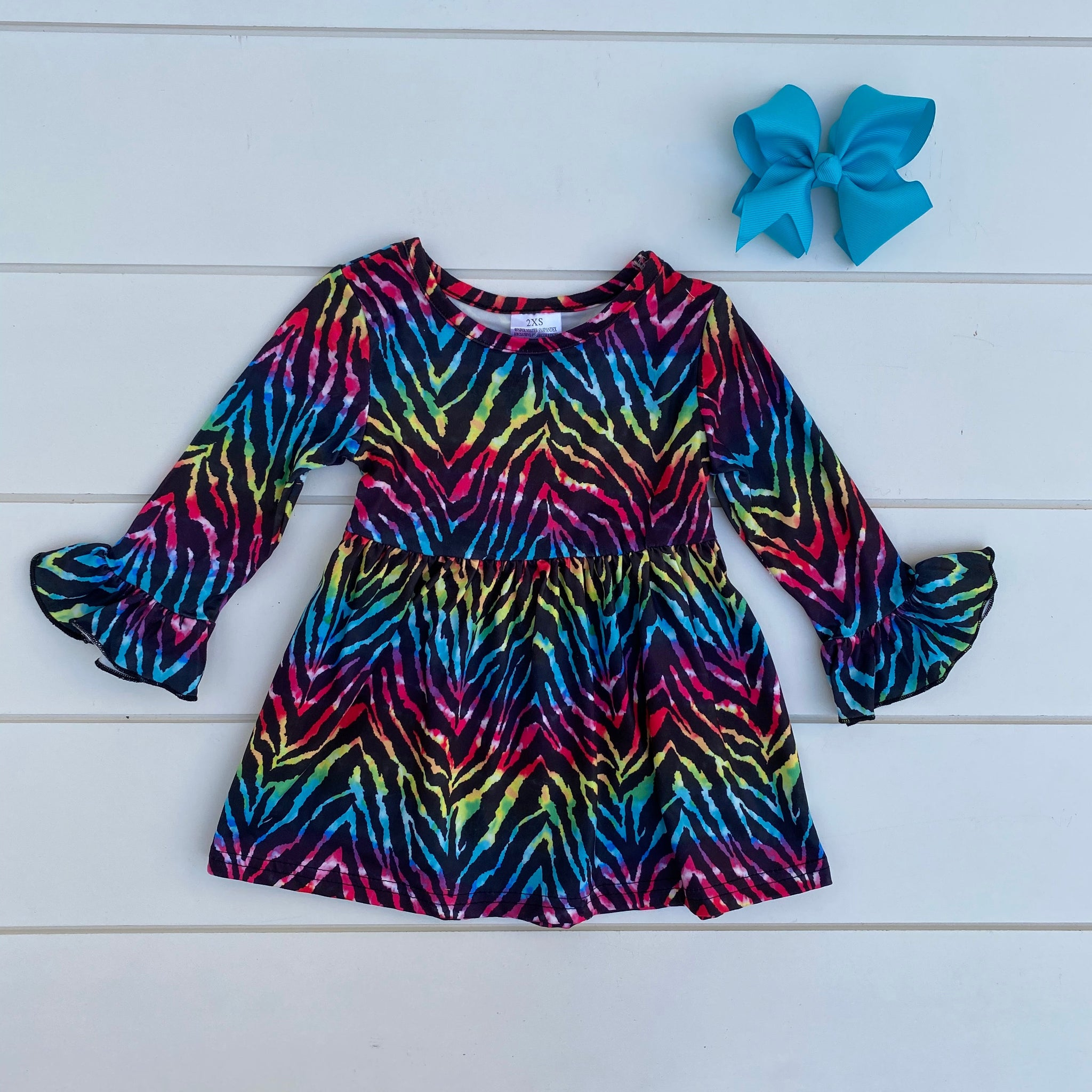 WILD RAINBOW COLORED BELL SLEEVE DRESS