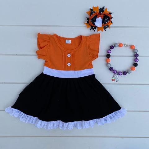 FLUTTER FALL HALLOWEEN LACE DRESS