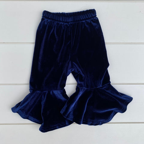 NAVY BLUE VELOUR FLARE PANT
