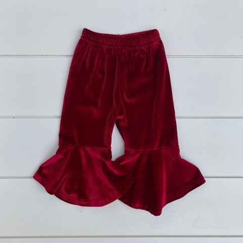 DARK RED VELOUR FLARE PANT