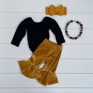 GOLDEN YELLOW VELOUR FLARE PANT