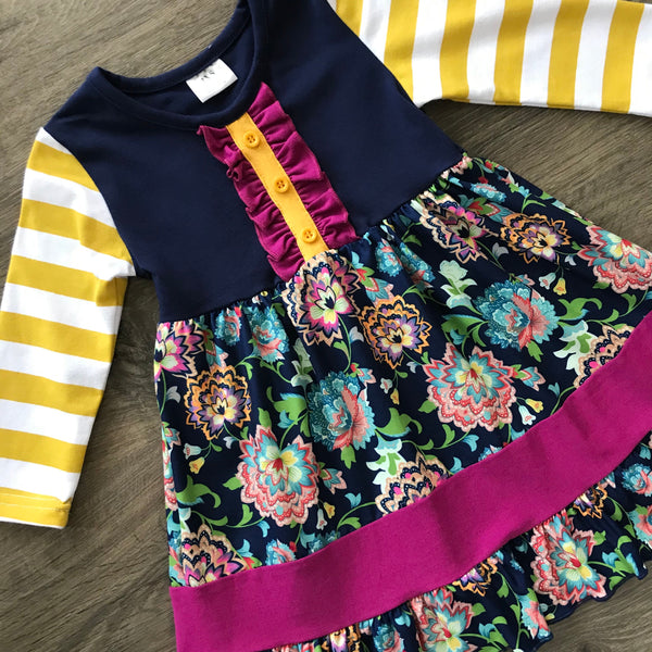 SARA PLUM AND MUSTARD YELLOW STRIPED FLORAL DRESS