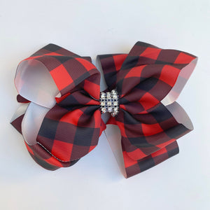 RED AND BLACK BUFFALO PLAID RHINESTONE BOW