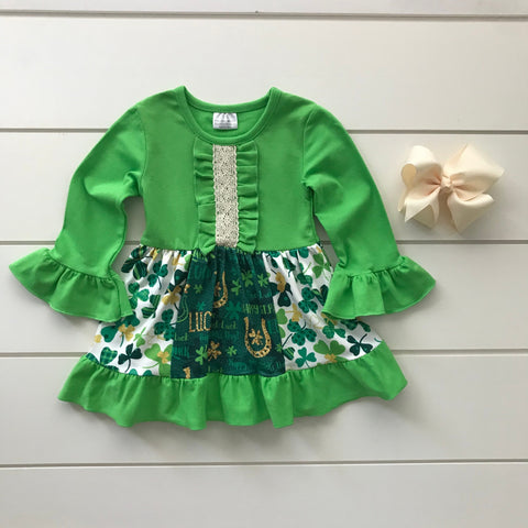ST. PATRICK'S DAY LUCKY CLOVER PATTERENED DRESS