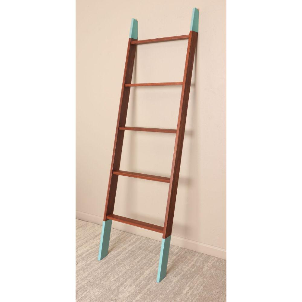 Chestnut with Aqua Accent Blanket Ladder 20'' x 72''