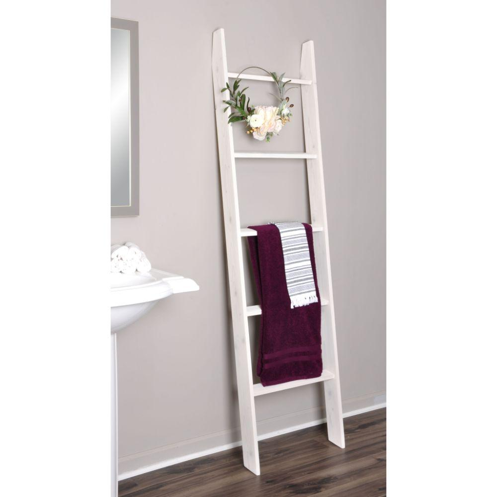White Washed 72 in. Decorative Blanket Ladder