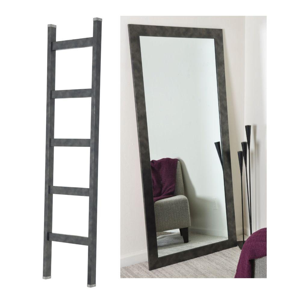 2 Piece Set - 6ft Black Blanket Ladder and 32in. X 71in. Floor Mirror Set