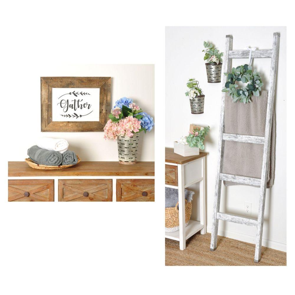 2 Piece Set- 6ft Farmhouse Blanket Ladder and Reclaimed Wood Gather Sign 19in. x 15in.