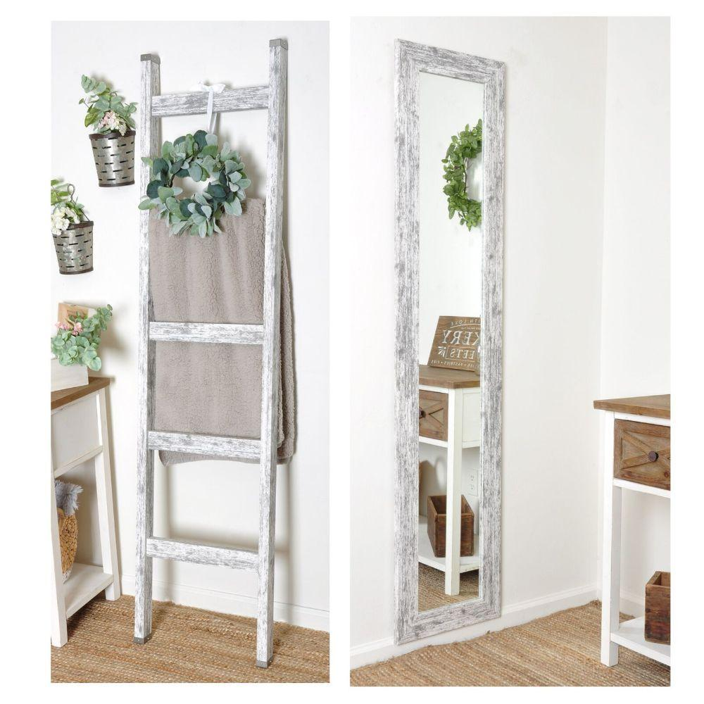 2 Piece Farmhouse Set - 6ft Blanket Ladder and 16in. x 71in. Slim Floor Mirror