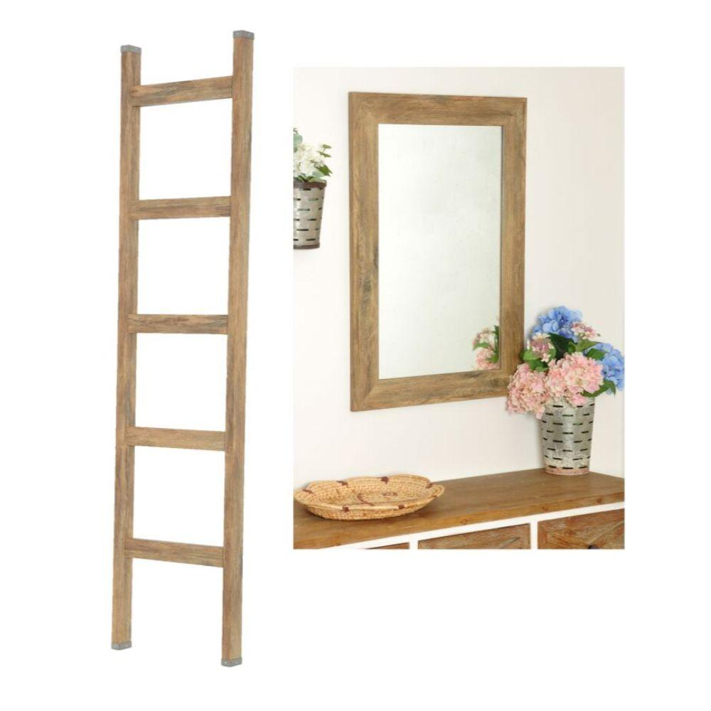 2 Piece Set - 6ft Farmhouse Blanket Ladder with Matching 32 x 27 Accent Mirror