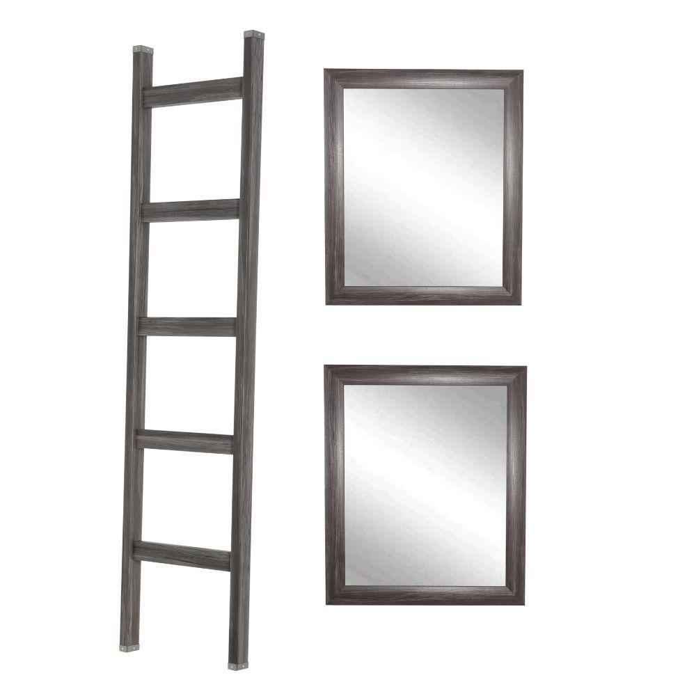 3 Piece Set - 6ft Farmhouse Blanket Ladder with 2 Matching 31in. x 26in. Accent Mirrors