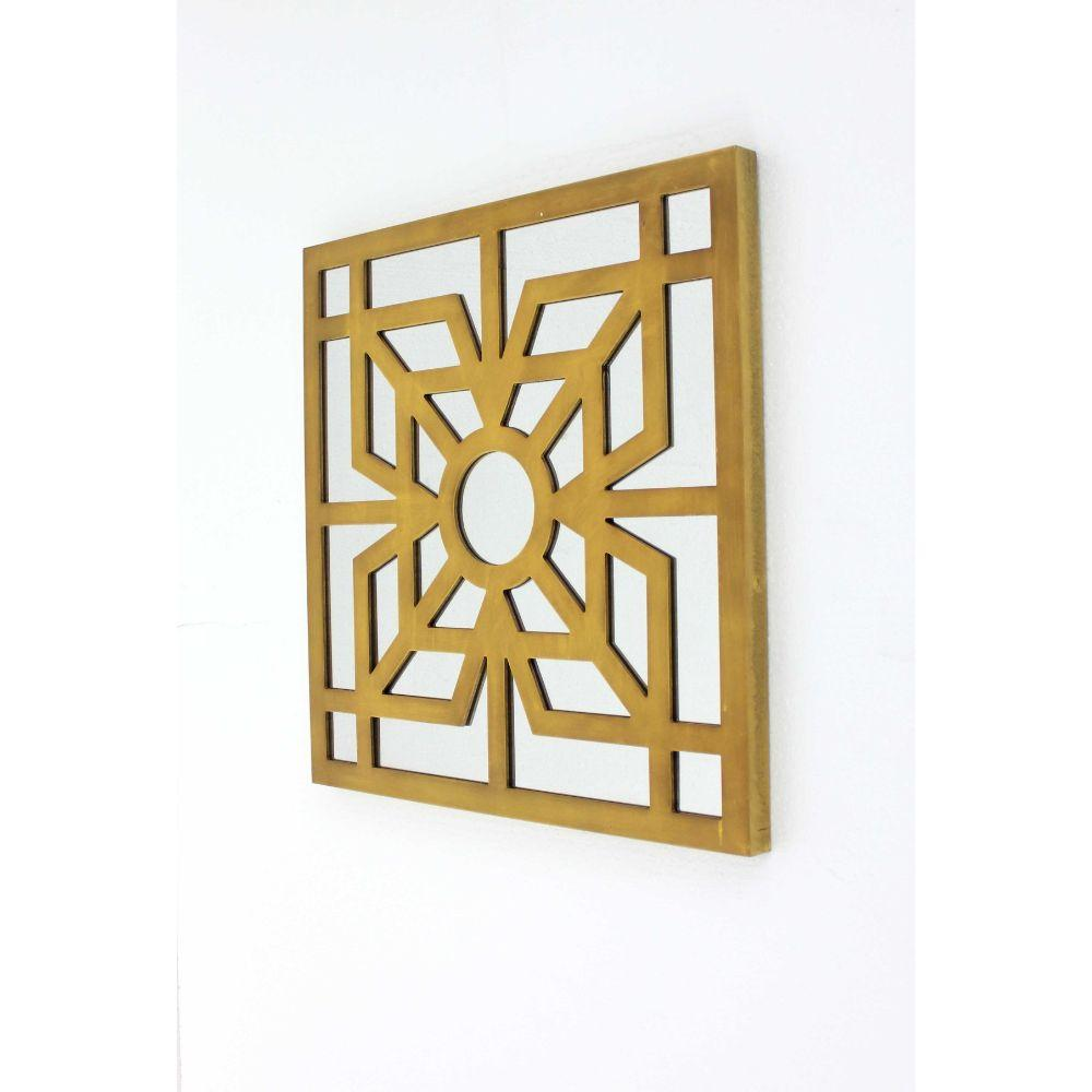 "Bright Gold Modern Mirrored Wooden Wall Decor (23.25""X1.25""X23.25"")"