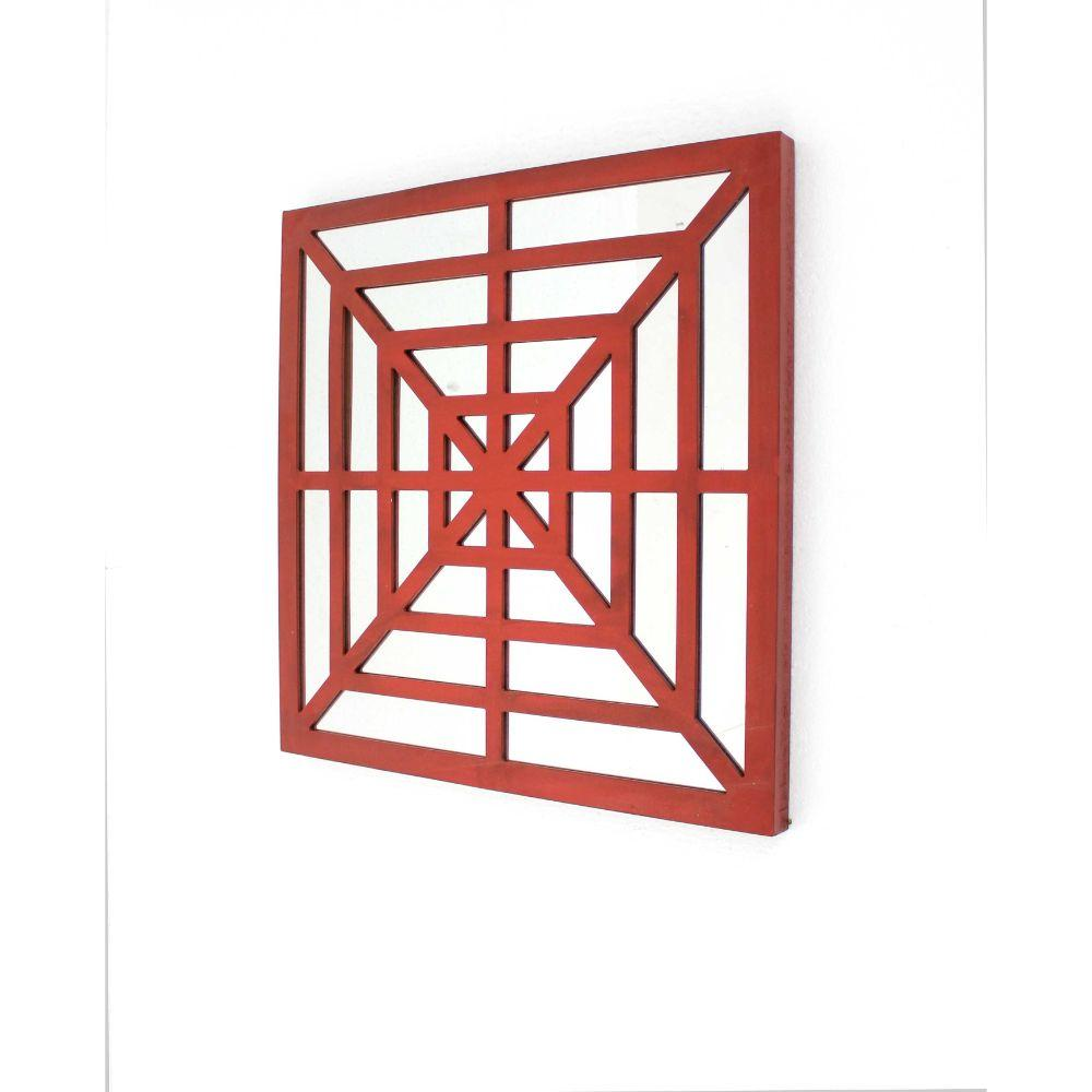 "Red Modern Mirrored Bright Wooden Wall Decor (23.25""X1.25""X23.25 )"