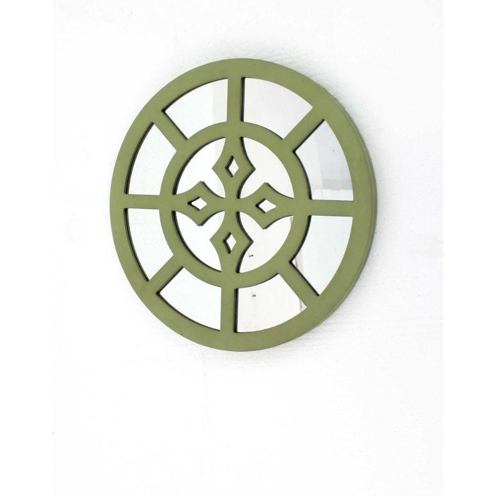 "Green Rustic Mirrored Round Wooden Wall Decor (15.5""X0.87""X15.5"")"