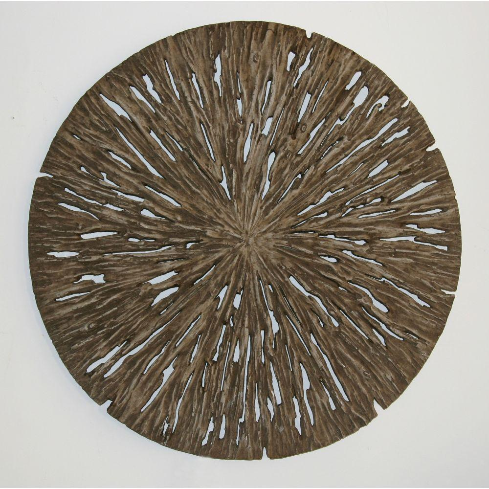 "Brown Round Rotten Wood Wall Decor (14""X2"")"
