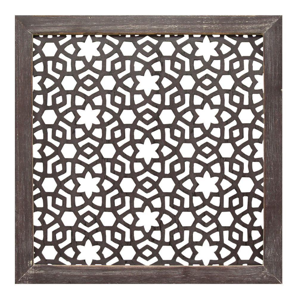 "1Pc Espresso Wood Framed Laser-Cut Wall Decor (16""X1""X16"")"