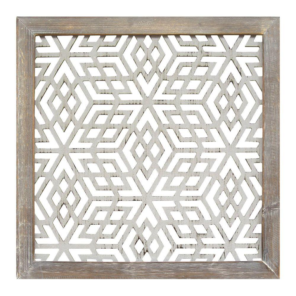 "1Pc Gray Wood Framed Laser-Cut Wall Decor (16""X1""X16"")"
