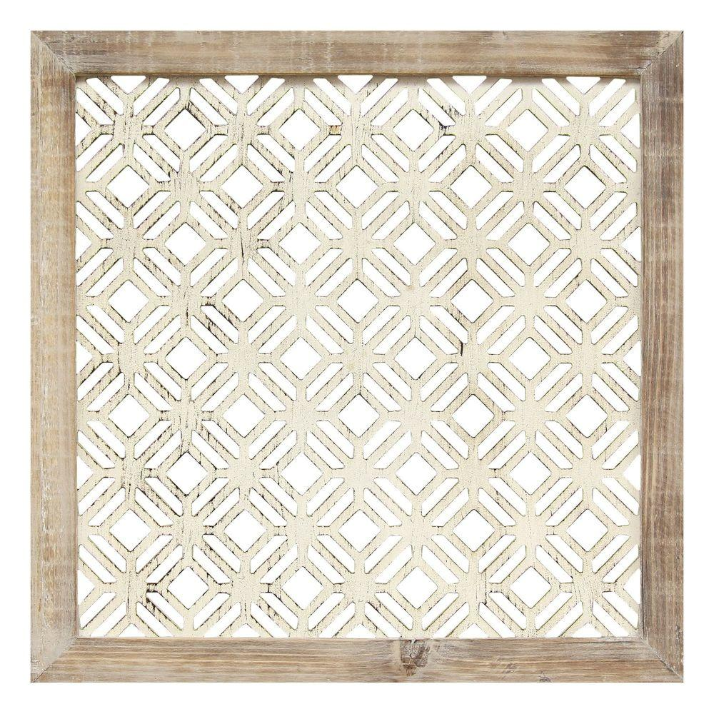 "1Pc White Wood Framed Laser-Cut Wall Decor (16""X1""X16"")"