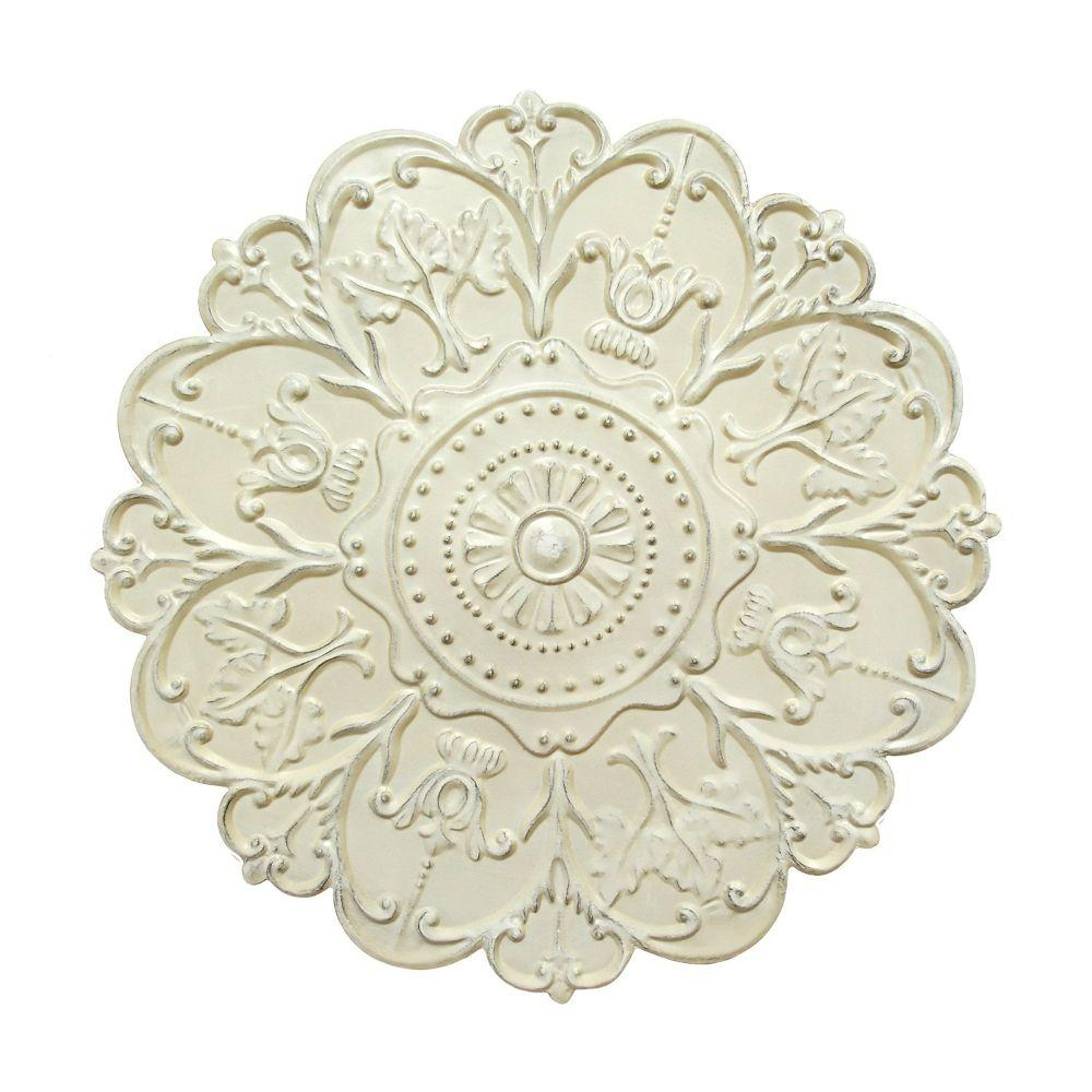 "Shabby White Medallion Wall Decor (27""X1.18""X27"")"