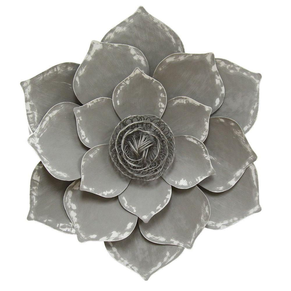"Gray Lotus Wall Decor (19.69""X2.56""X19.69"")"