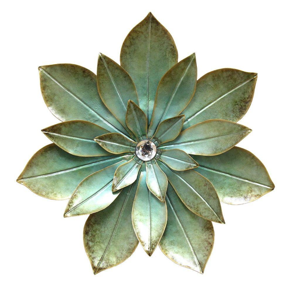"Green Embellished Flower Wall Decor (20""X2""X20"")"