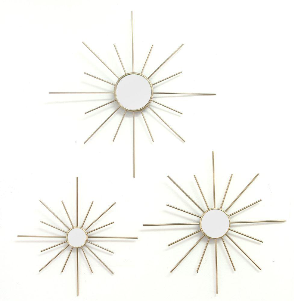 "3Pcs Gold Mirror Burst Wall Decor (14""X0.5""X14"")"