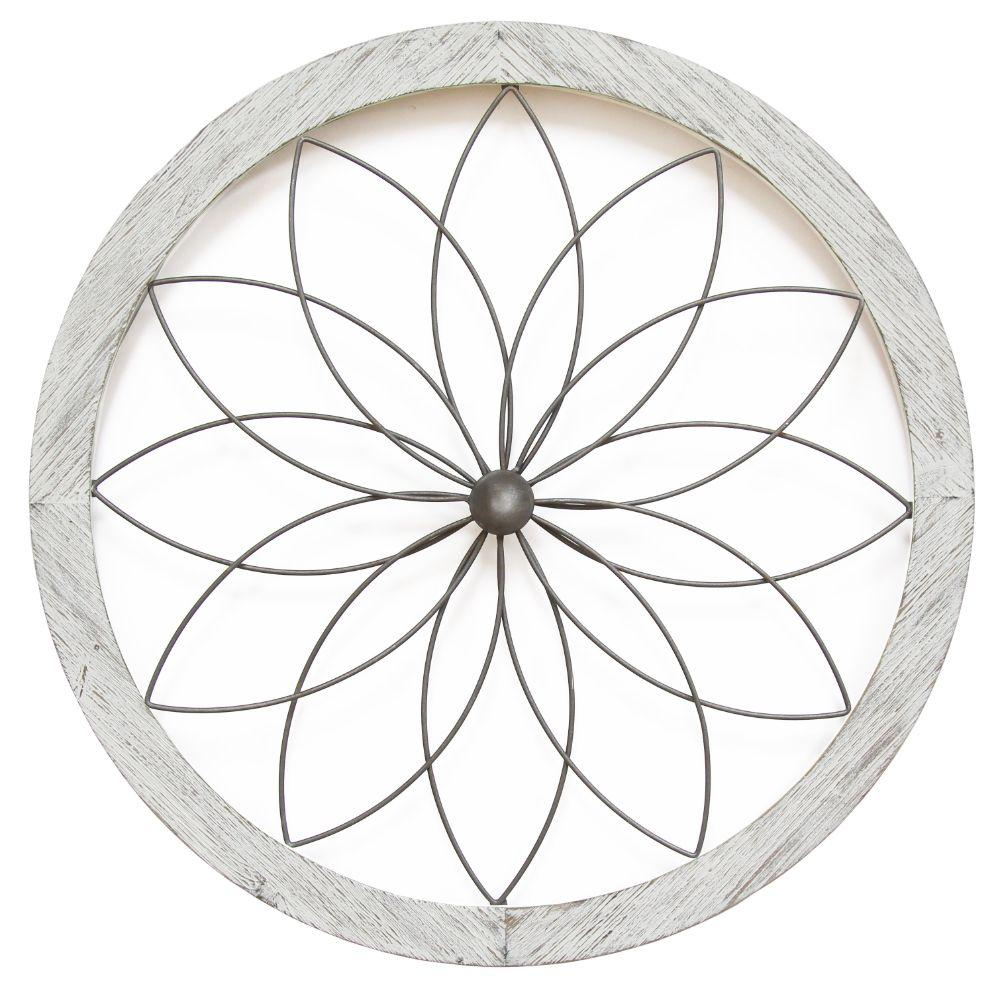 "White Flower Metal And Wood Art Deco Wall Decor (25.75""X1""X25.75"")"