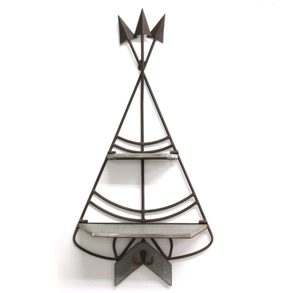"Bronze And Gray Teepee Shelf And Hook Wall Decor (14.75""X5.25""X29"")"