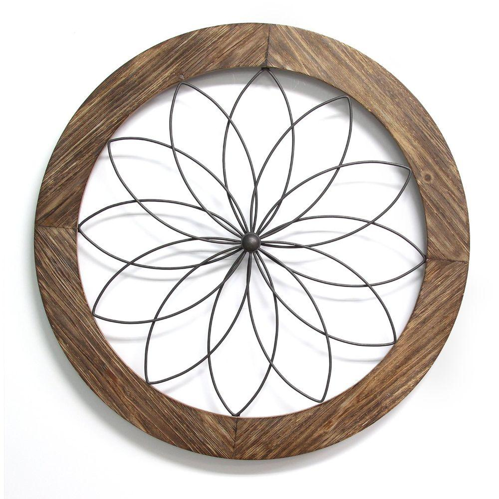 "Round Wood And Metal Medallion Wall Decor (25.75""X1.75""X25.75"")"