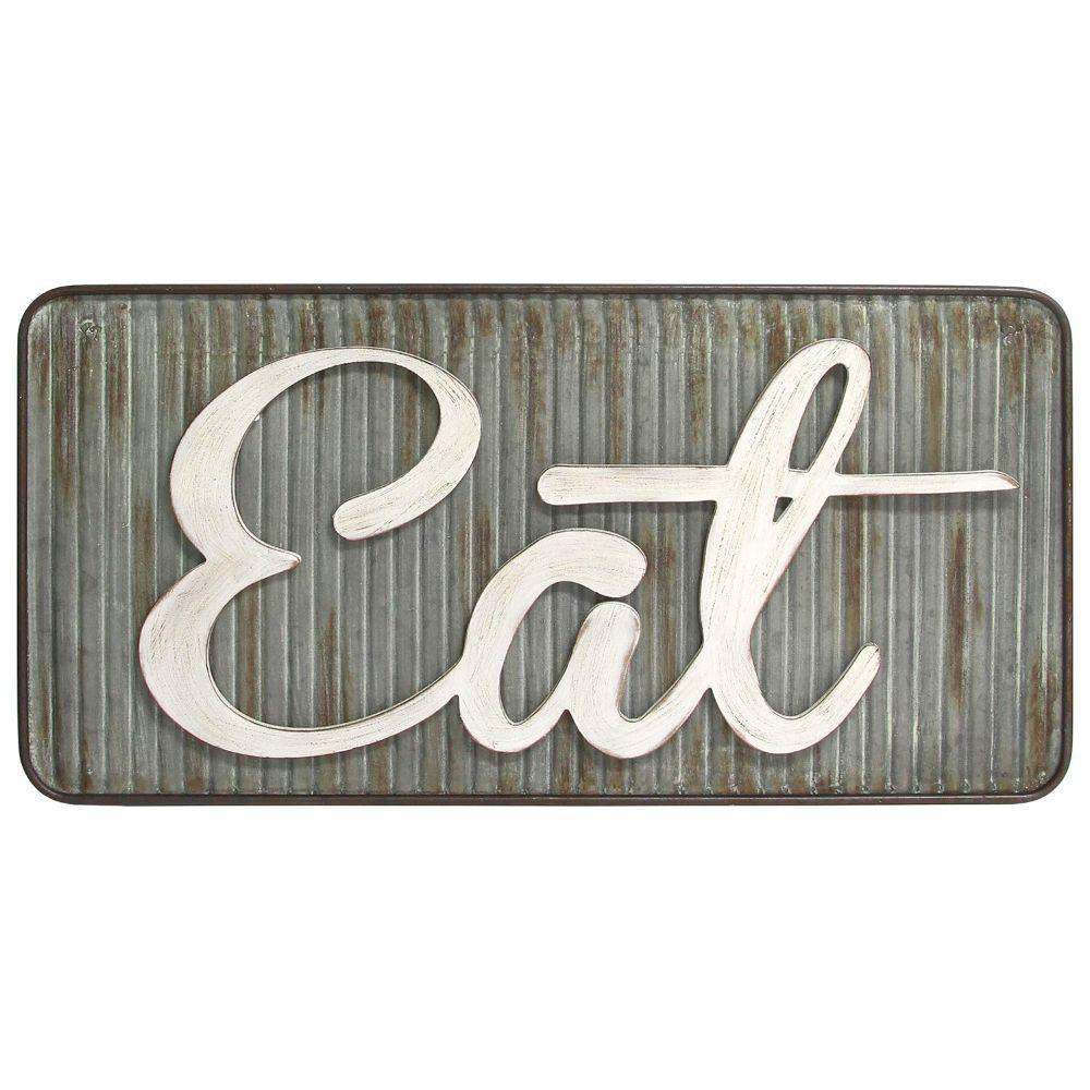 "Multi-Color Retro Eat Wall Decor (31.5""X0.79""X15.75"")"