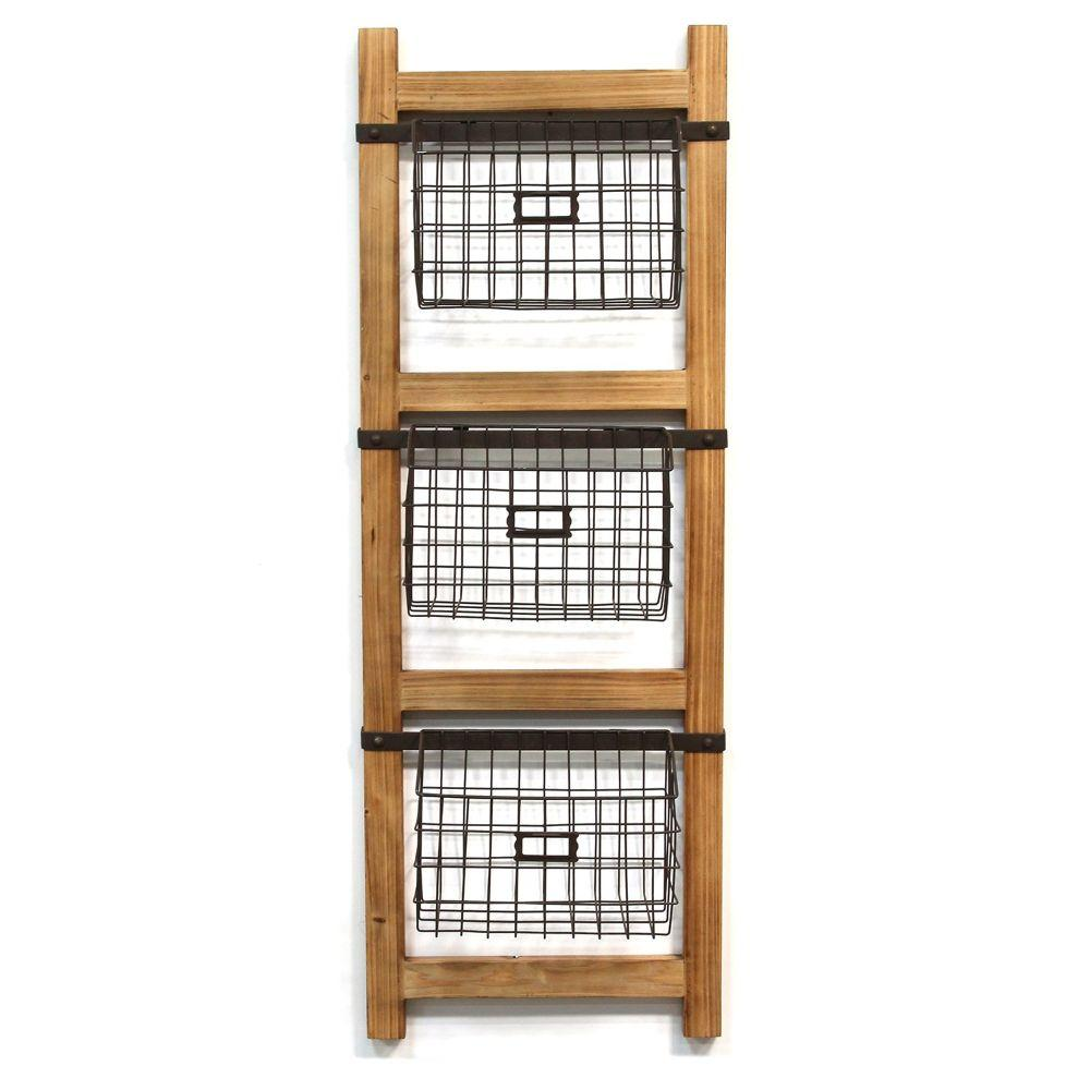 "Natural Wood Decorative Ladder With Baskets Wall Decor (14.5""X6.5""X41"")"