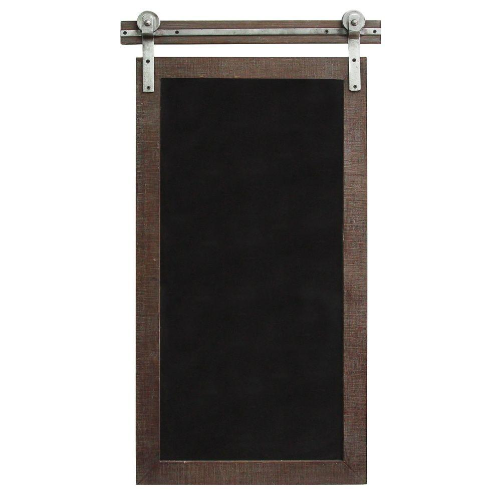 "Dark Natural Wood Farmhouse Chalkboard Wall Decor (16.75""X1.75""X31"")"