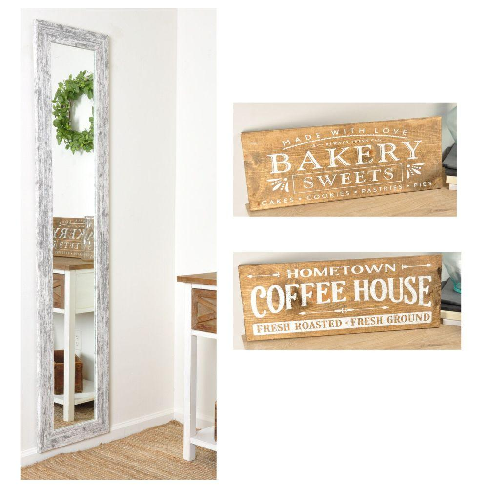 3 Piece Set -   16in. X 71in. Floor Mirror with 2 Farmhouse Wooden Signs 24in. X 9in.