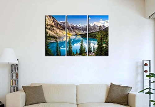 Morain Lake And Mountain Range Alberta Canada I 16x32 I 3 Panel